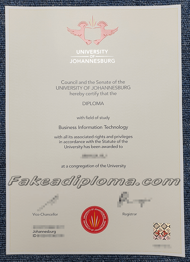 Fake University of Johannesburg Diploma