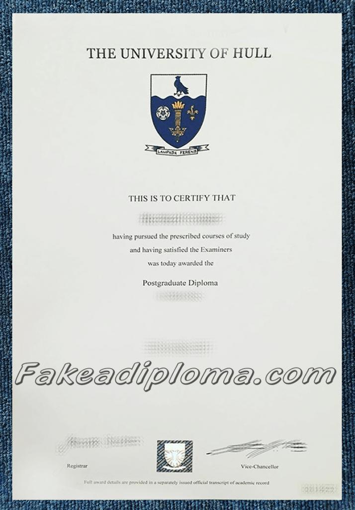 Fake University of Hull Degree, fake UK University diploma certificate.