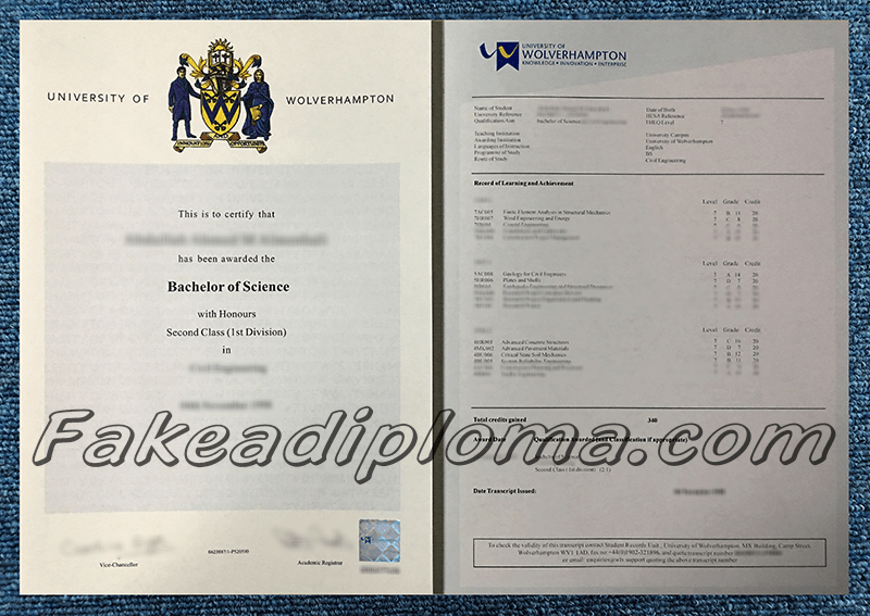 Fake University of Wolverhampton Diploma and Transcript, Fake UoW Diploma and Transcript.