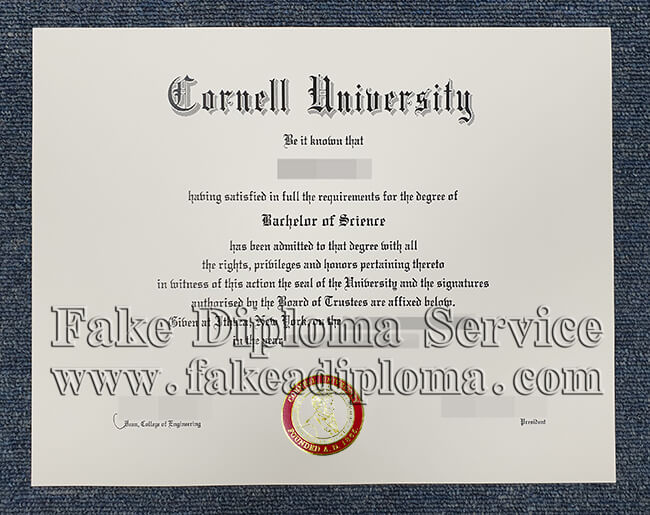 Fake Cornell University diploma certificate, fake US University degree.