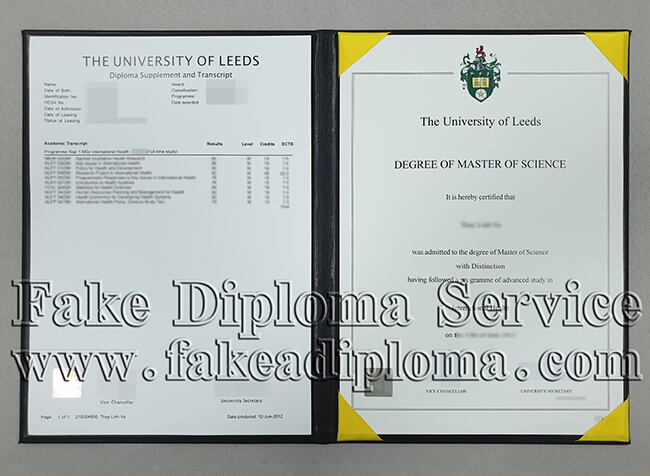 Fake University of Leeds Diploma and transcript