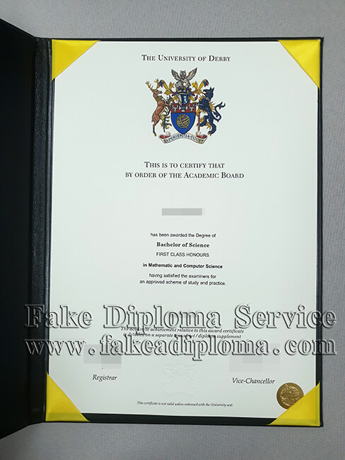 Fake University of Derby Diploma