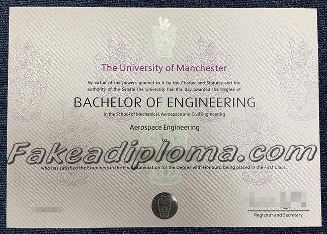 Fake University Of Manchester diploma, Fake UOM diploma,