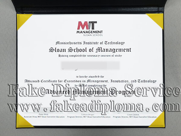 Fake Alfred P. Sloan School of Management Diploma