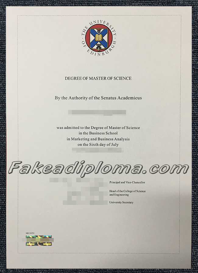Fake University of Edinburgh diploma