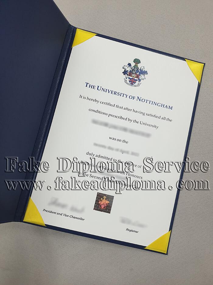 Fake University of Nottingham Diploma