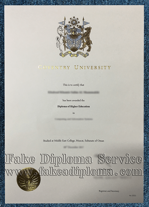 Fake CU Degrees, fake Coventry University diploma certificate.