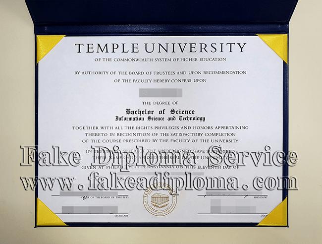 fake Temple University diploma certificate, fake USA University degree.