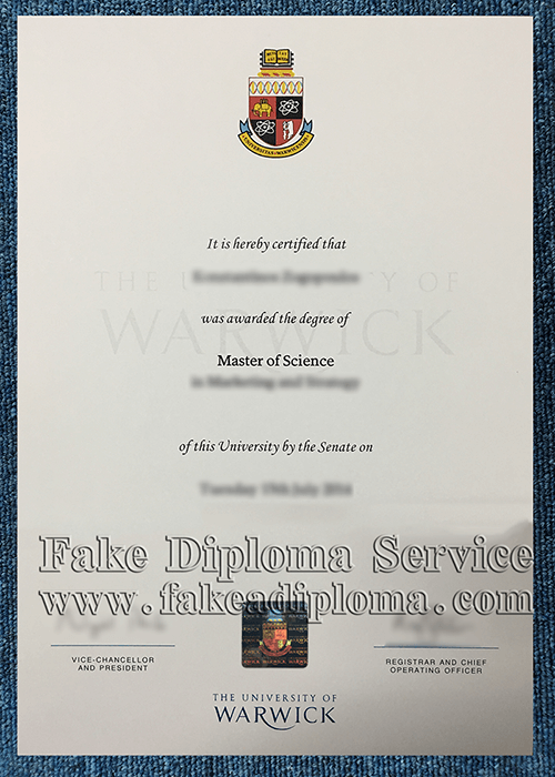 Fake University of Warwick Diploma Certificate