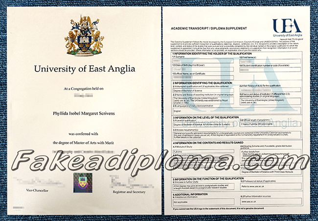 Fake University of East Anglia Degree And Transcript, fake UK University diploma and transcript.