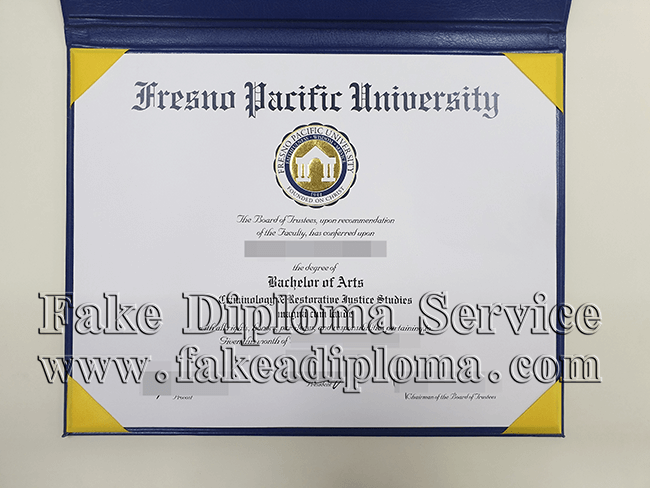 fake FPU degree certificate, fake Fresno Pacific university diploma.