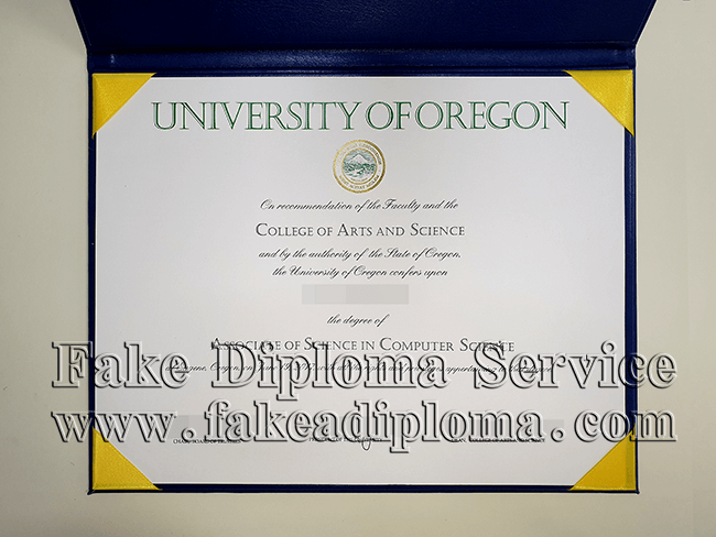 UO fake diploma sample, University of Oregon fake degree certificate.