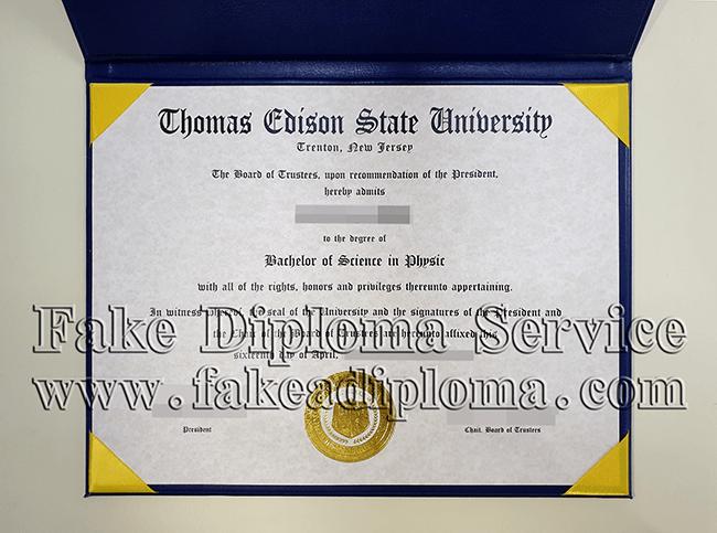 Thomas Edison State university fake diploma certificate, USA university fake transcript, United States university fake degree.
