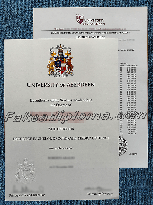 fake University of Aberdeen diploma