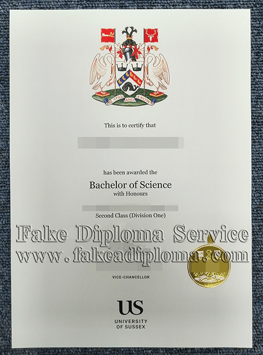 Fake University of Sussex Degree Certificate