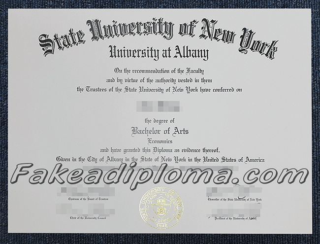 fake State University of New York at Albany degree certificate, fake SUNY diploma.