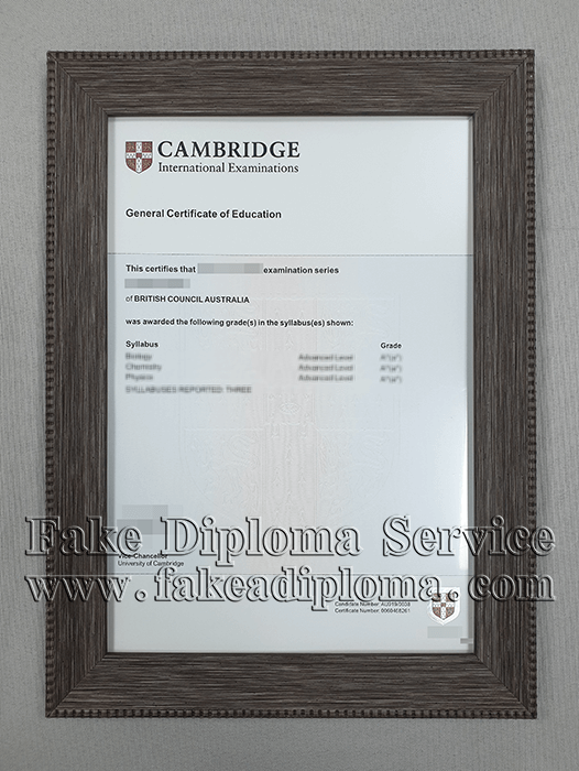 General Certificate of Education certificate, Fake CAMBRIDGE Certificate.