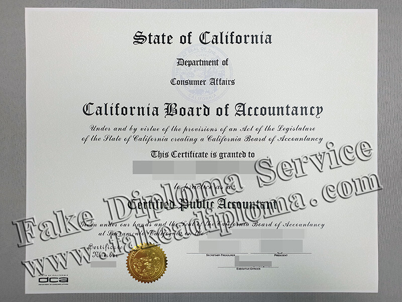 The California Fake CPA Certificate