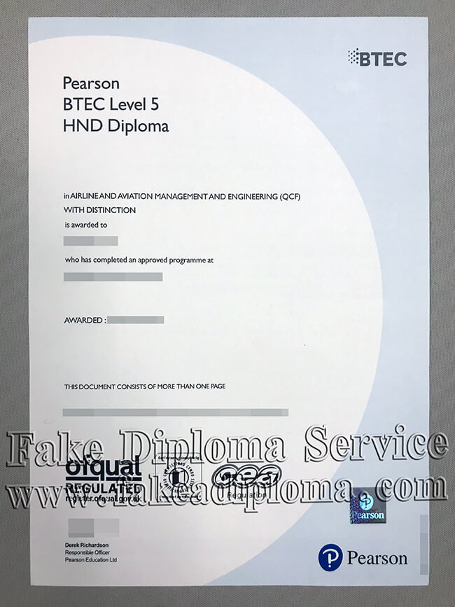 Fake BTEC Level 5 Certificate