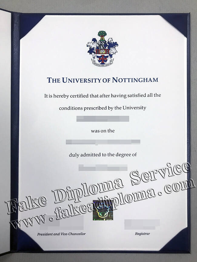 Fake University of Nottingham Diploma