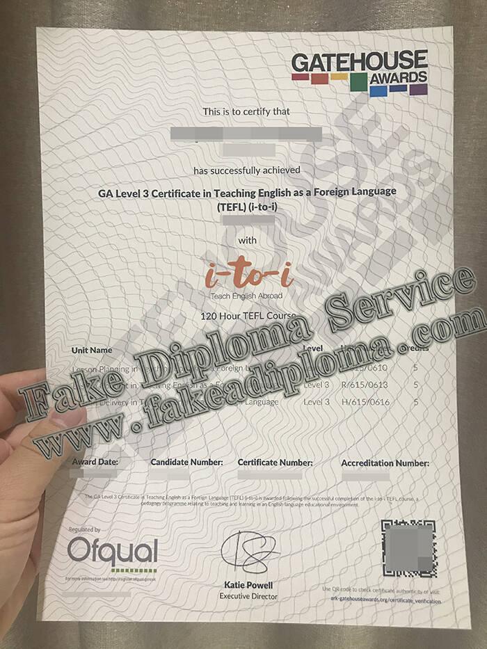 TEFL Fake Certificate, Teaching English Foreign Language Fake Certificate.