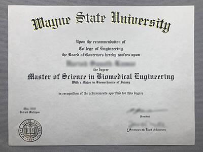 Wayne State University Master Degree, WSU Diploma.
