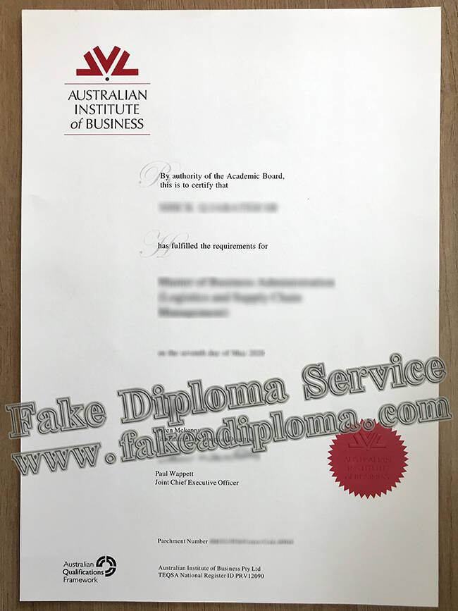 Fake Australian Institute of Business Diploma