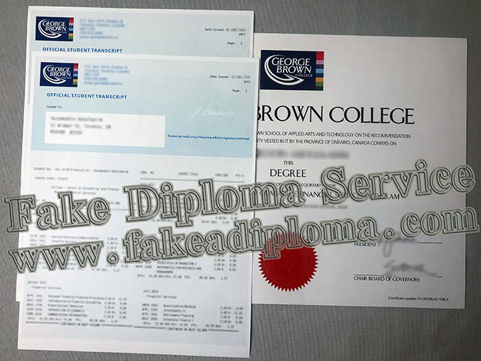 George Brown University Transcript and Degree Certificate