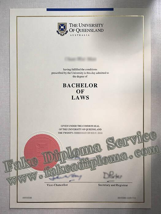 fake University of Queensland degree, fake UQ diploma.