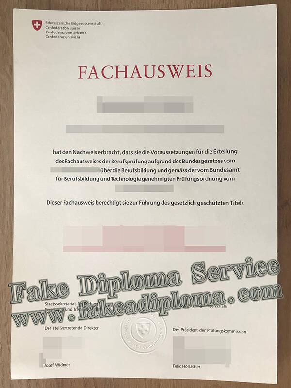 Fake Fachausweis Certificate