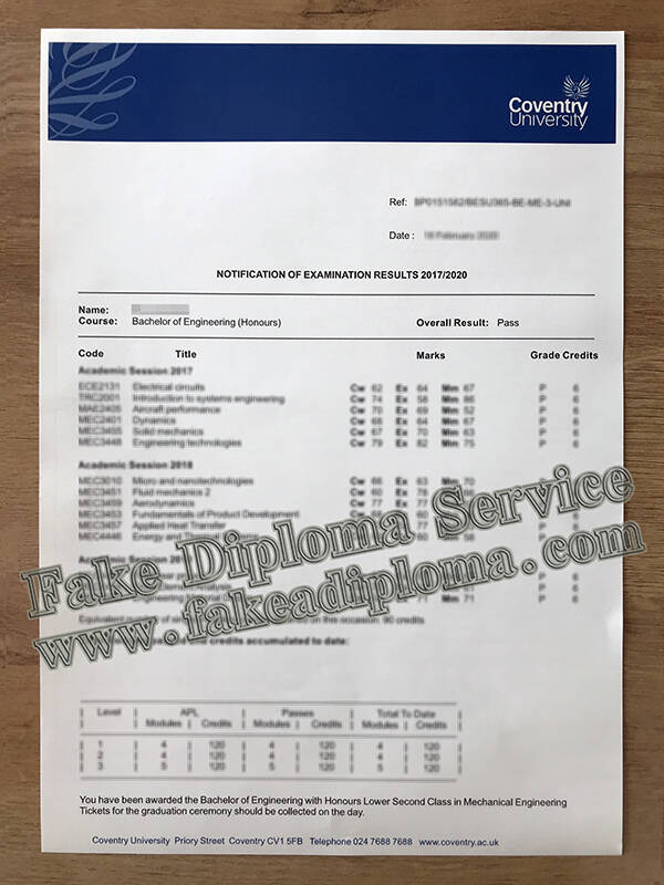 Fake Coventry University transcript