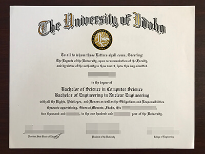 Copy University of Idaho Fake Degree And Fake Transcript