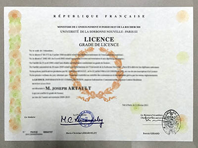 Order Université Sorbonne Nouvelle Paris 3 Fake Diploma, Print it Online