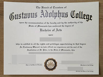 How To Copy Fake Gustavus Adolphus College Degree Certificate Online?