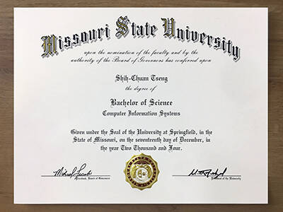 Where to Buy A Fake Missouri State University Degree Certificate? Copy the Fake MSU Diploma