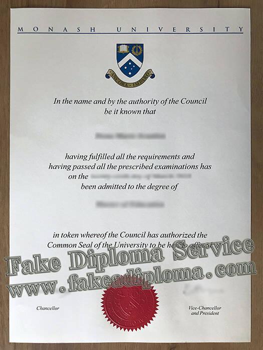 Fake Monash University Diploma