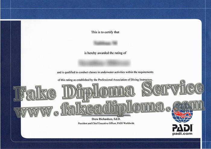 Fake PADI Diploma Certificate