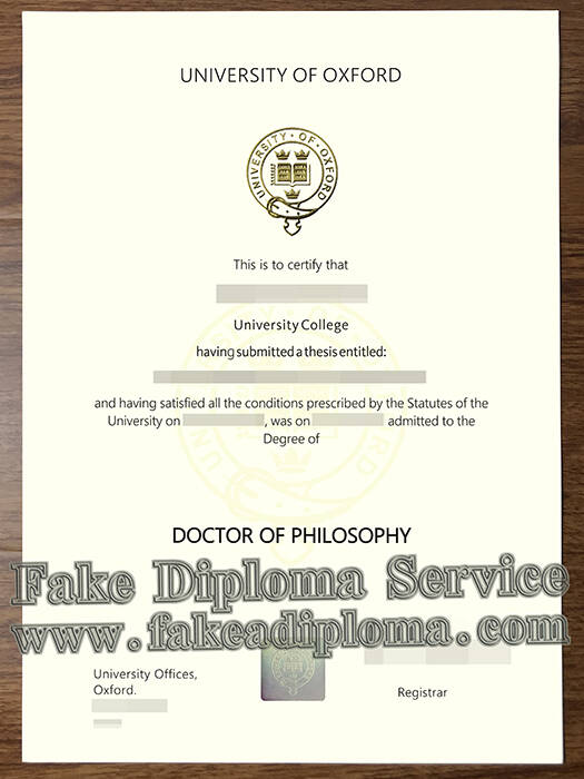 University of Oxford Fake Degree Certificate