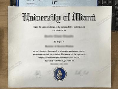 Copy Fake University of Miami Diploma, UMiami Fake Degree Certificate