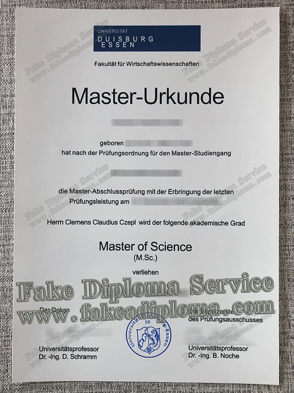 fake University of Duisburg Essen diploma