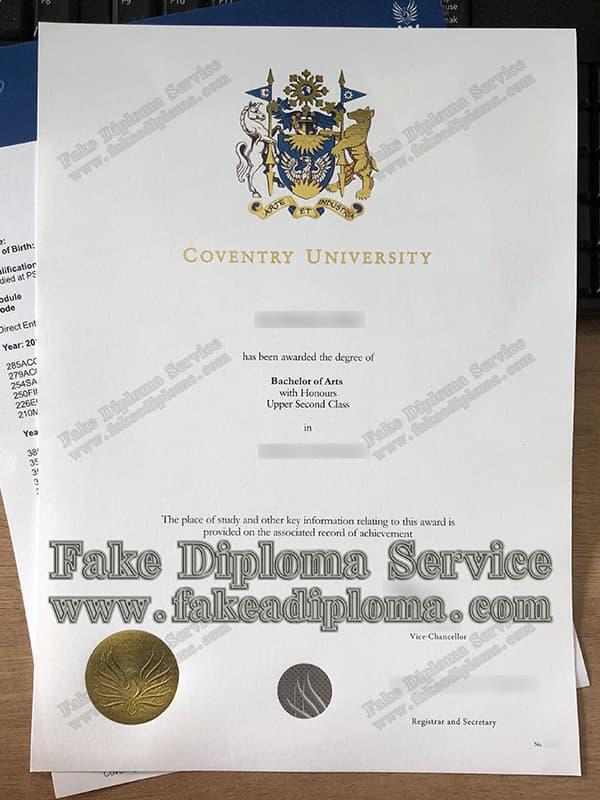 fake Coventry University degree diploma