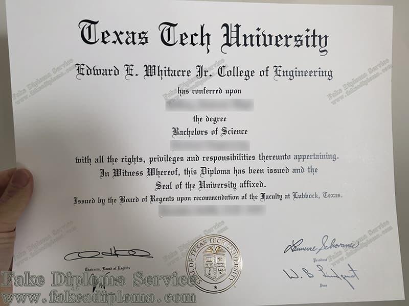 fake Texas Tech University diploma certificate