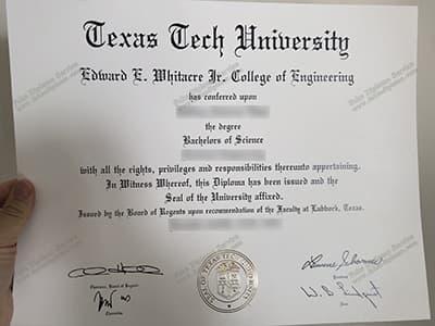 Buy Texas Tech University Diploma Certificate Online