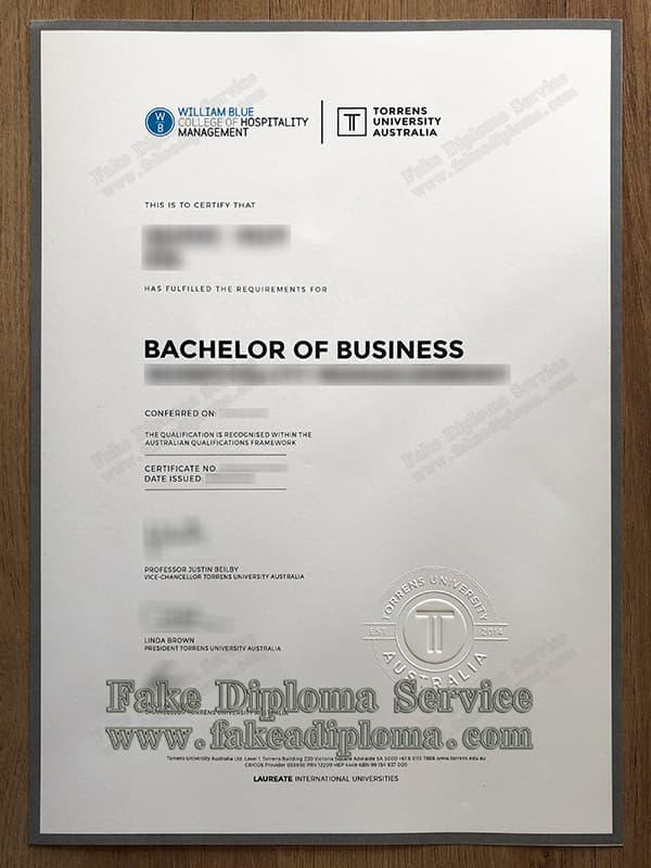 Torrens University of Australia Diploma diploma, fake TUA diploma