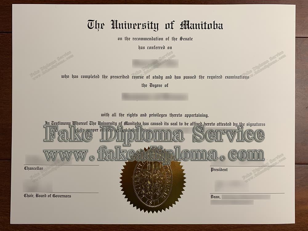 fake University of Manitoba diploma certificate