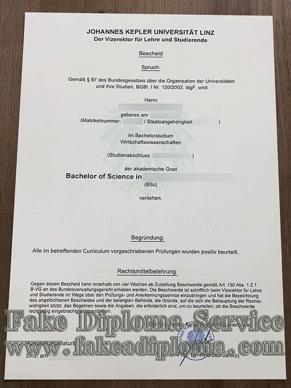 fake Johannes Kepler University Linz diploma