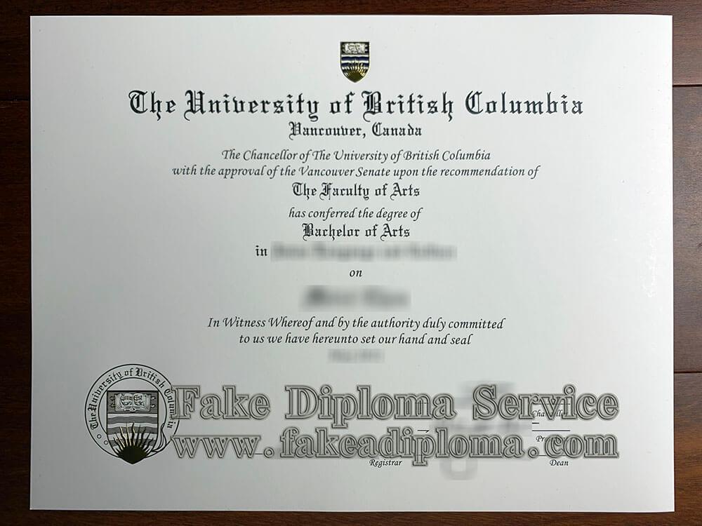University Of British Columbia Diploma,  Fake UBC Degree