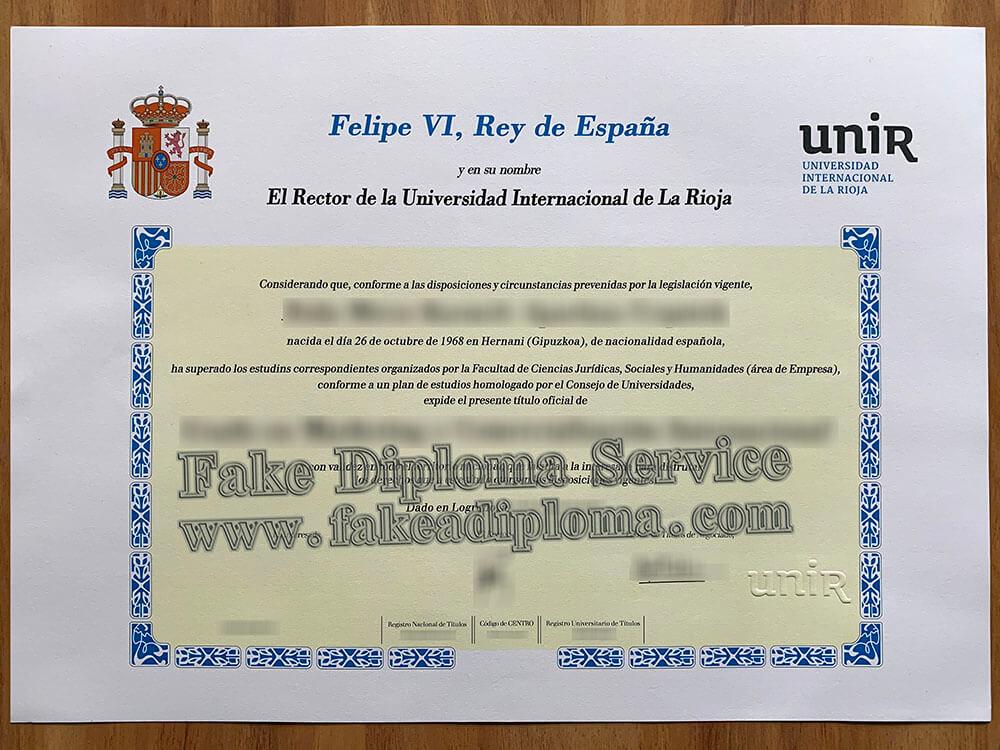 fake Universidad Internacional de La Rioja diploma,  fake UNIR diploma