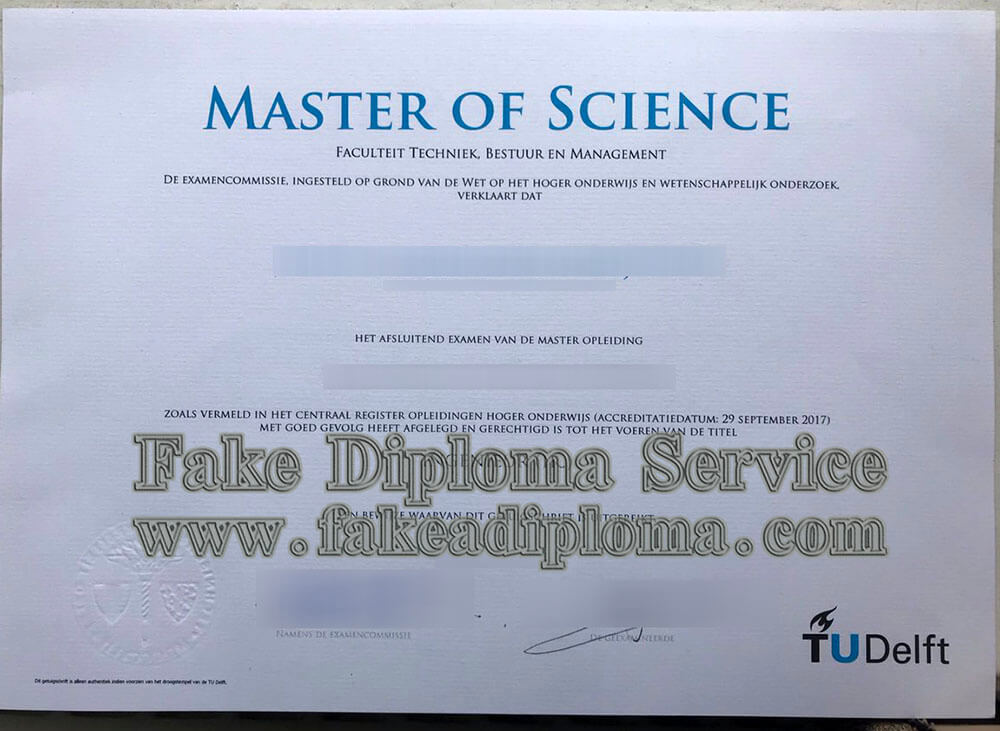 fake Delft University of Technology diploma, Technische Universiteit Delft diploma