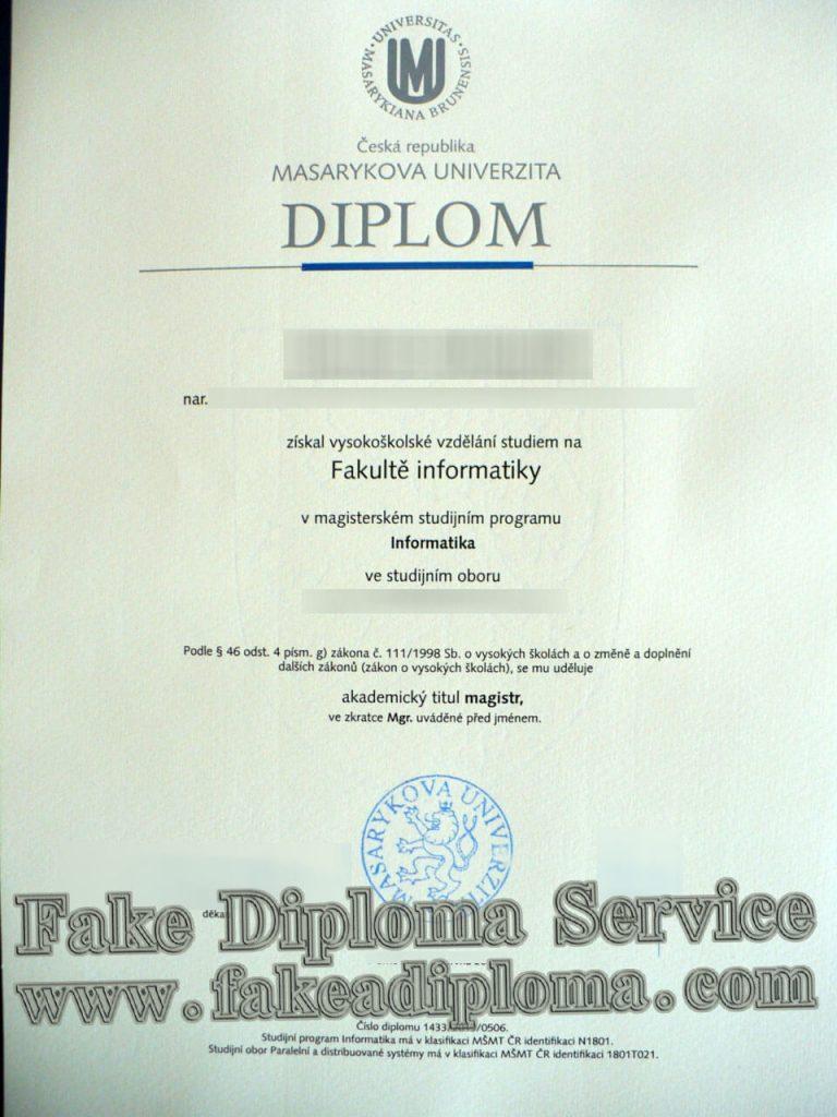 fake Masaryk University diploma